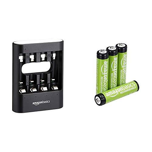 Amazon Basics - Caricabatterie USB rapido, nero & Batterie AAA ricaricabili, pre-caricate, confezione da 4 (l'aspetto potrebbe variare dall'immagine)