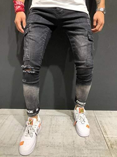 Pantalones Vaqueros Slim Fashion Classic Hombres Vintage Streetwear Hip Hop Ripped Biker Jeans Destroyed Frayed Men Moto