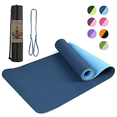 Lixada Yoga Mat -TPE Friendly Eco Non-Slip Yoga Mat Exercise & Fitness Mat,Workout Mat for All Type of Yoga, Pilates and Floor Exercises with Gift Carrying Strap and Storage Bag(72x24in)
