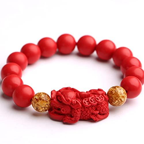 Rrunzfon Feng Shui Amuleto Pulsera Prosperity Red Bead Chinese Red Zodiac Year Gold Foil Pearl Pixiu Que Contiene Cinnabar Pixiu Bracelet Pulsera Mascot para Hombres y Mujeres