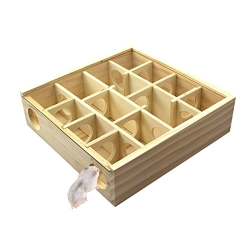 Hypeety Wooden Maze Tunnel Toy with Glass Cover, Small Pet Animals Activity Sport Gerbil Labyrinth Dwarf Hamster Play Toys Maze Tunnel Mice Wooden Funny Toy