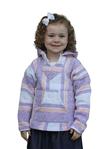 Youth Kids Childrens Mexican Baja Hoodie Pullover Sweater Unisex Boys Girls (XX-Small (1-2 Years), Lavender/Pink)
