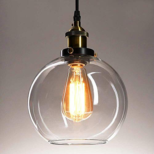 Frideko Vintage Ball Glass Ceiling Pendant Light -7.8 inch Industrial Style Globe Glass Lampshade Hanging Fixture Lighting with Adjustable Cord Length for Kitchen Island Dining Room(20cm)