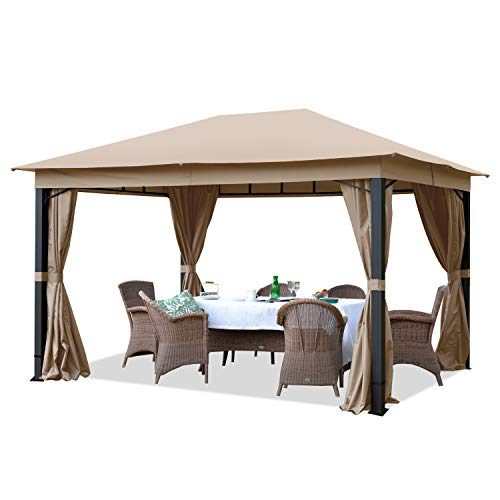 TOOLPORT Gartenpavillon 3x4m ALU Premium ca. 280g/m² Dachplane wasserdicht Pavillon - 4 Seitenteile Gartenzelt Taupe 9x9cm Profil