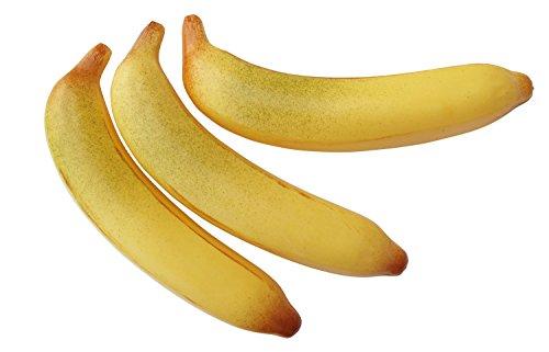 ERRO 3 Bananen Attrappen 19 cm lang - 01039, Obstattrappe als Requsite, Banane aus Kunststoff, Lebensmittelattrappen, Obst Nachbildung, Dekoartikel, Hohlattrappe