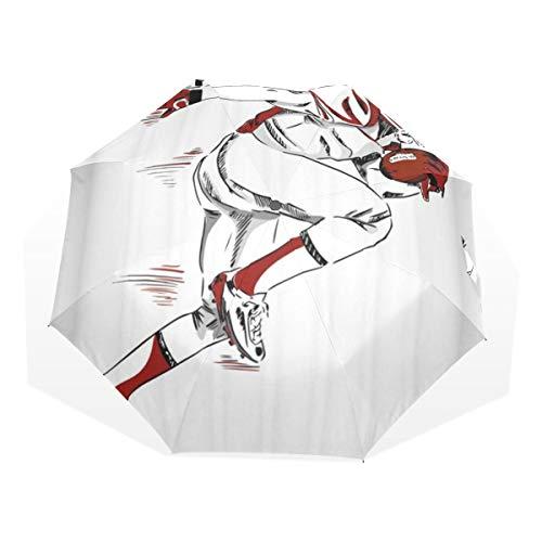 LASINSU Regenschirm,Amerikanischer Fußball Sport Thema männlicher Athlet with Helmet und Handschuhe,die laufende Skizze halten,Faltbar Kompakt Sonnenschirm UV Schutz Winddicht Regenschirm