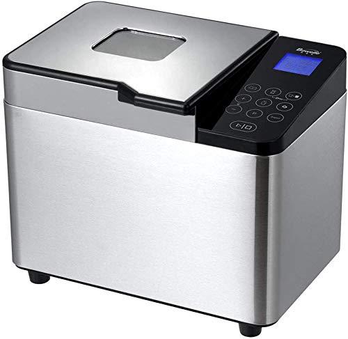 YDBET 2.2 Lb Brot-Hersteller Edelstahl-automatische Individuelles Programm Multifunktionale Brot-Maschine mit 21 Programmen, 3 Crust Farben, 15 Stunden Delay Timer, 1 Stunde warm halten (110V 550W)