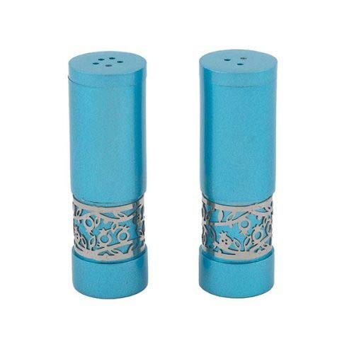 Yair Emanuel | Salt and Pepper Shaker Set | Turquoise and Silver Cut Out Pomegranate Border | SAF-2