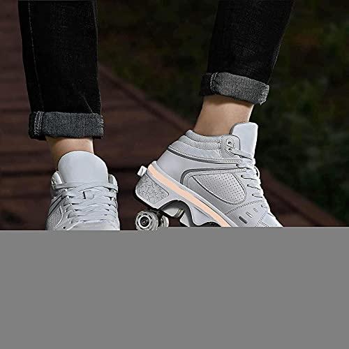 XRDSHY Patines con Luces LED Zapatos con Ruedas para Adultos/Niños Zapatillas De Deporte Al Aire Libre 2 En 1 Deform Patines Zapatos para Caminar,White-EU36/24cm