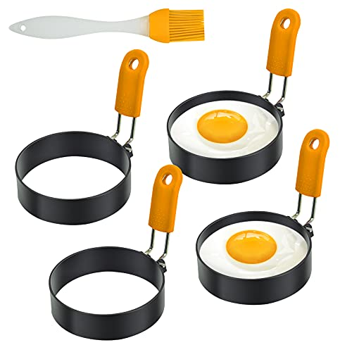Egg Rings For Griddle,4 Pack of 3'Stainless Steel Egg Molds with Silicone handle(Oil Brush Included),Nonstick Egg Cooker Ring for Pancake, Picnic, Breakfast(Orange)4 pack