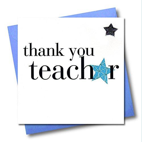 Claire Giles - Tarjeta de agradecimiento para profesor, diseño con estrellas azul