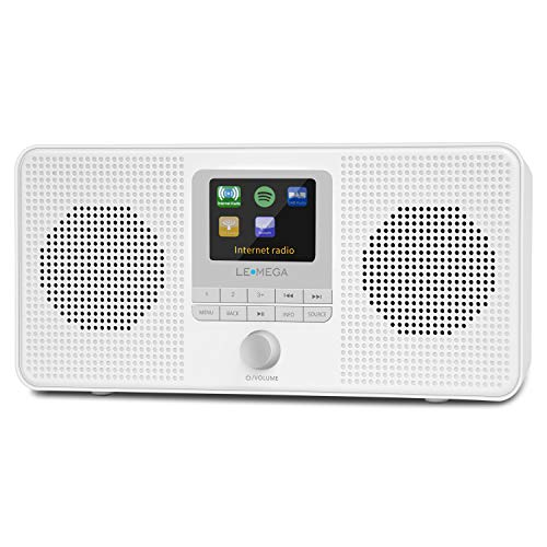 LEMEGA IR4S Tragbares Internetradio,Stereo DAB/DAB+/UKW-Digitalradio, WiFi, Spotify Connect, Bluetooth, Doppel Wecker, Farbdisplay,Kopfhöreranschluss -Satinweiß