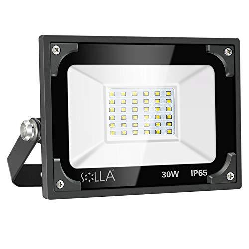 Luces de Seguridad 30W, Foco LED Súper Brillante de 2400 Lúmenes, Luz Cálida 3000K, Reflector Exterior de Paisaje para Patio Trasero Jardín Garajes Azotea Patio