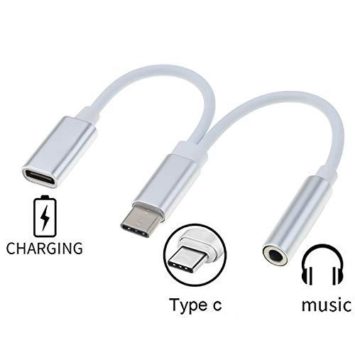 Premium Cord USB-C a 3,5 mm Auriculares Adaptador + USB Tipo C Hembra para Cargar, USB 3.1 Tipo C Macho a Jack AUX Audio, para Huawei P20/P20 Pro/P30/P30 Pro, Xiaomi 6/8, Mix 2/3, OnePlus6T, etc.