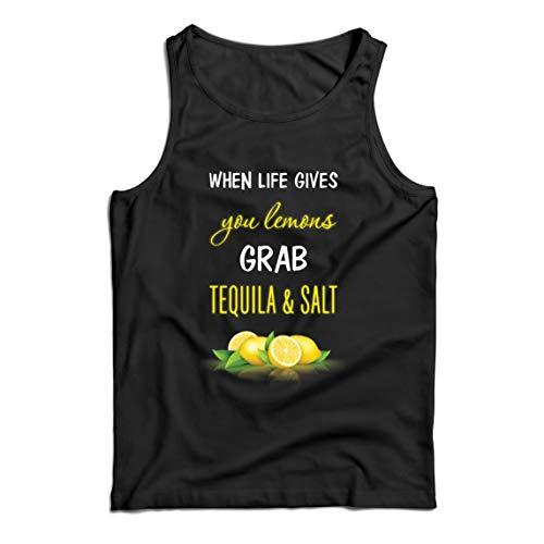 lepni.me Camisetas de Tirantes para Hombre Cuando la Vida te da Limones coge el Tequila y Cita la Sal (XXL Negro Multicolor)
