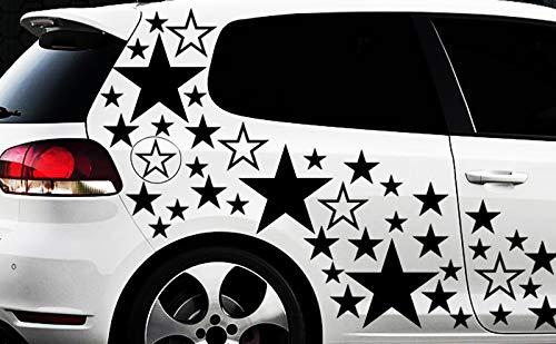 HR-WERBEDESIGN WANDTATTOO Lot de 93 Autocollants étoiles pour Voiture Motif étoiles et Fleurs XXL