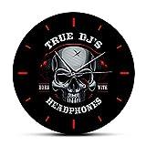 hufeng Reloj de Pared True DJs Born with Headphone Horror Decoración del hogar Reloj de Pared Cráneo Musical Silencioso Reloj de Pared sin tictac Reloj de Pared de Estudio de música