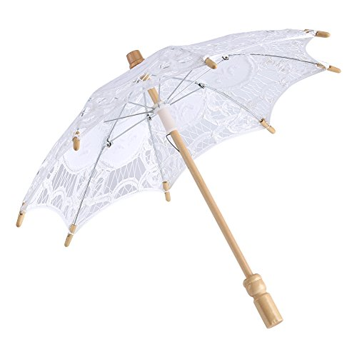 Pizzo ombrello ombrello parasole da sposa da sposa in pizzo ricamo puro cotone Lady vintage decorazione puntelli foto, White, small