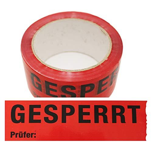 6 Rollen Klebeband Gesperrt, Prüfer: Rolle 50 mm x 66 lfm Absperrband Paketband Packband Warnband Hinweisklebeband