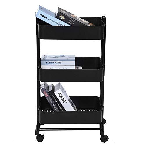 Palstique Servierwagen mit Rollen mit 3 Körben, Servierwagen mit 4 Rollen mit Körben, 3 Ebenen, mobil, für Büro, Küche, Schlafzimmer (schwarz)
