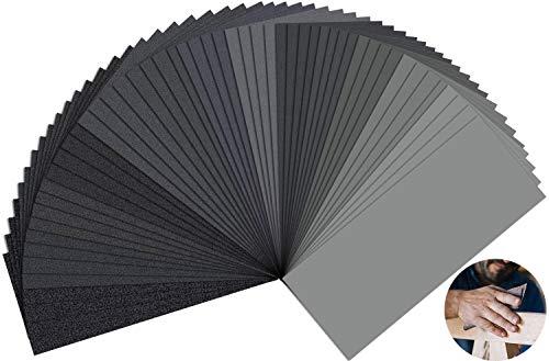 Schleifpapier Set 120-3000 Körnung Schleifpapier Nass und Trocken Schleifpapier Nassschleifpapier zum Polieren von Auto Holzmöbel Glas Lack Metall Keramik Stein 23 x 9,3 cm