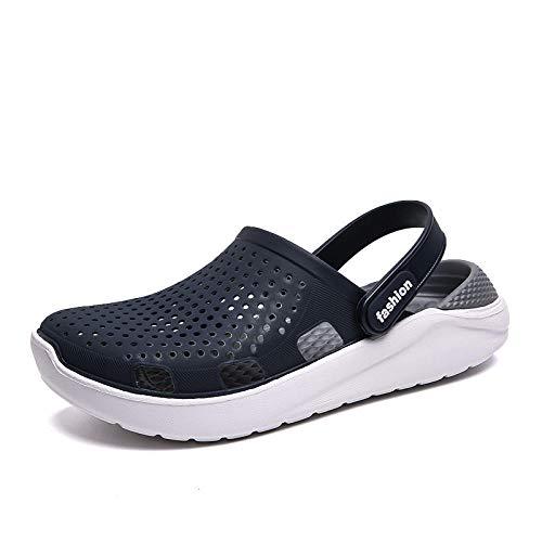 Coooi Chancletas Hombre Zapatillas De Verano Hombres Chanclas De Playa Sandalias De Gelatina Eva Integradas Amante Zapatos De Agua Aqua Agujeros Zapatos De Jardín Zuecos Slides Blue Gray 44