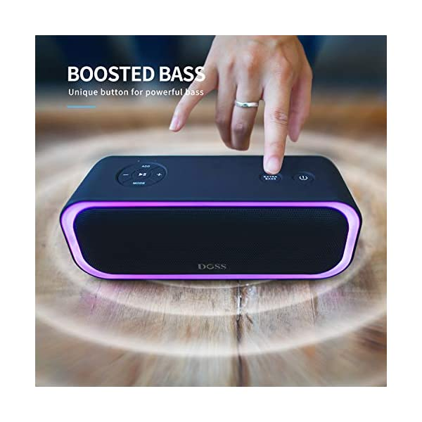 Portable Wireless Bluetooth Speaker with 20W Stereo Sound, Active Extra Bass, Wireless Stereo Paring, Multiple Colors Lights, Waterproof IPX5, 10 Hrs Battery Life 5
