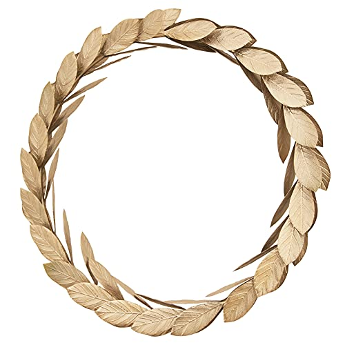 Gold Leaves Metal Wreath Wall Decor for Front Door,16 inch Large Door Wreath for Christmas,Window,Wedding,Party Decoration