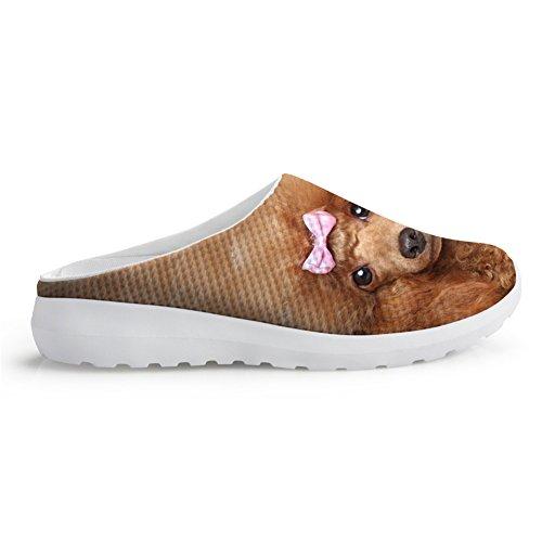 chaqlin Mode Frauen Sommer Mesh Sandalen 3D Tiere Slip-on Hausschuhe Atmungsaktiv Weibliche Strand Wasser Schuhe, Braun - Teddy - Größe: 37 EU