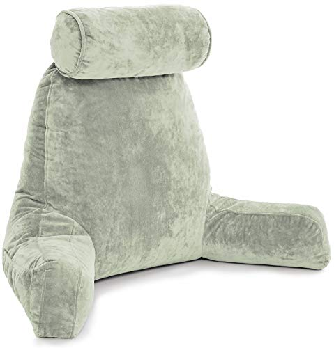 Husband Pillow - Desert Sage, Big Backrest Reading Bed Rest Pillow with Arms, Plush Memory Foam Fill, Remove Neck Roll Off Bungee, Change Covers, Zipper On Shell of Bed Chair for Adjustable Loft