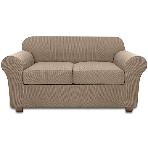 Sofa Loveseat Slipcover for 2 Cushion Couch Covers 3 Piece Loveseat Cover (Sand)