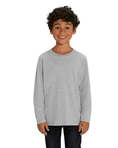Hilltop Hochwertiges Kinder Langarmshirt /100% Bio-Baumwolle für Mädchen und Jungen. Eignet sich hervorragend zum bedrucken. (z.B.: mit Transfer-Folien/Textilfolien), Size:134/146, Color:Heather Grey