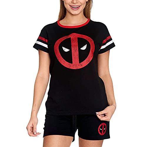 Elbenwald Marvel Pyjama mit Deadpool Logo Print 2 teilig für Damen kurz Baumwolle schwarz - XXL