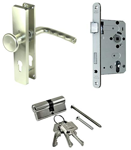 SN-TEC Zimmertür/Wohnungstür Komplett Set Beschlag (einseitig Knauf) + PZ Schloss (DIN Links) + Profilzylinder