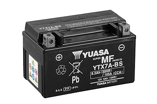 Batterie YUASA YTX7A-BS, 12V/6AH (Maße: 150x87x94) für SYM/Sanyang Symphony 125 Baujahr 2011