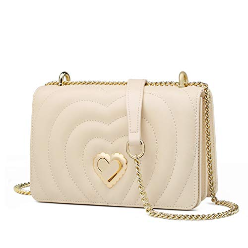 💗 Materials - Made of split cowhide, enhancing softness and comfort, decorated with heart-shape turn-lock. Polyester lining is silky and it will not scratch your personal belongings. Alloy fittings and metal chain strap can stay in good condition eve...