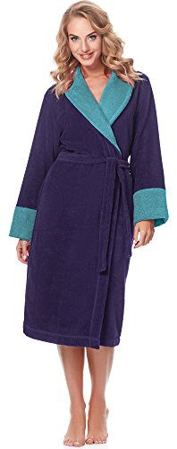 Merry Style Bata Larga Vestidos de Casa Ropa Mujer MSLL1003 (Violeta/Azul, M)