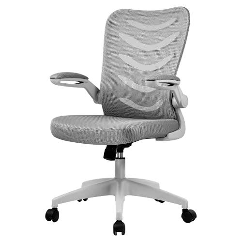 COMHOMA Bürostuhl Schreibtischstuhl Ergonomischer Drehstuhl inkl. Armlehnen(klappbar), Sitz(höhenverstellbar), Office Stuhl aus Stoff, Gray
