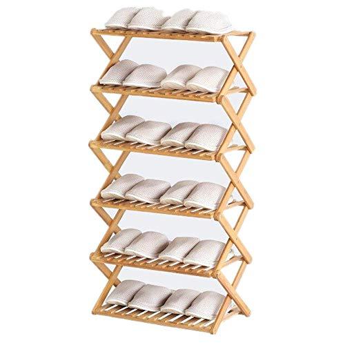 Zapatero apilable de bambú de 6 niveles, instalación libre plegable multicapa, simple hogar económico zapatero puerta dormitorio almacenamiento armario zapatero