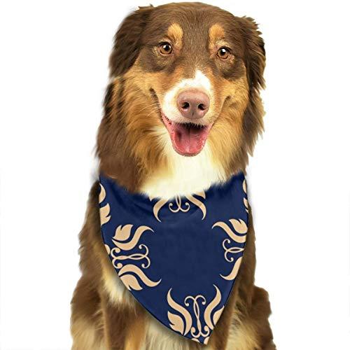 Gouden Bloem Textiel Behang Op Blauwe Achtergrond Aangepaste Hond Kattenhalsdoek Set Geschikt voor Kleine tot Grote Hond Katten