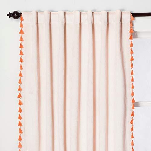"""Opalhouse Velvet Tassel Window Panel Coral Blush 54""""x 95"""""""