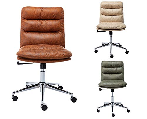 Guyou Leathaire Home Office Chair High Back Computer Desk Chair Bucket Seat, Armless Task Chair with Chrome Base, Antique Brown