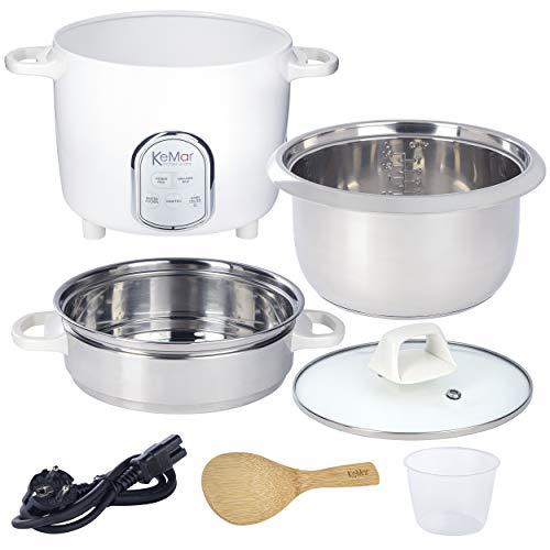 KeMar Kitchenware KRC-175 Reiskocher | 5 Programme | 1,4L | 500W | Edelstahltopf | Glasdeckel | Dämpfeinsatz
