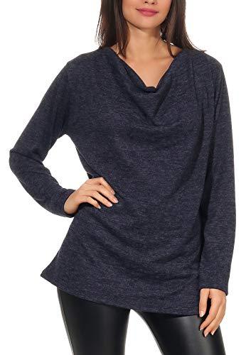malito dames pullover | Fijngebreide trui | Top met waterval hals | Sweater 1166