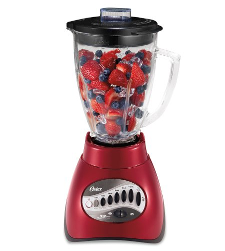 Oster 6-Cup 12-Speed Blender, Metallic Red