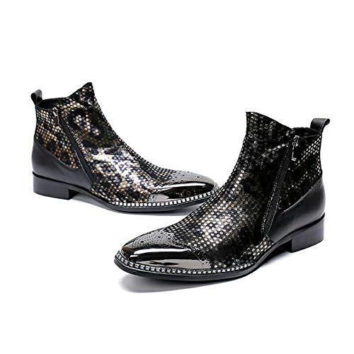 Gxet heren puntige lederen schoenen, nonchalant leer Cowboy Zipper metalen schoen, Crocodile gestructureerde lederen laarzen herenschoenen, voor nachtclub schoenen-jurk