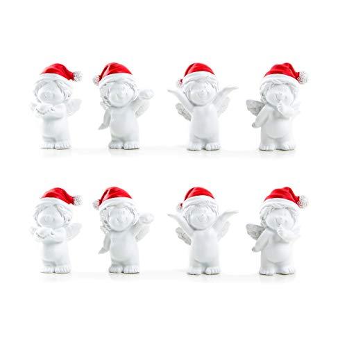 2 x 4 Weihnachten BABY Engel rot weiß MÜTZE 6 cm Mini-Engel Figuren Nikolaus Santa give-away Kunden Mitgebsel Geschenk