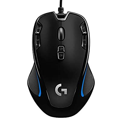 Logitech G300s Wired Gaming Mouse, 2,500 DPI, RGB, Lightweight, 9 Programmable Controls, On-Board Memory, Compatible with PC / Mac - Black (German Packaging)