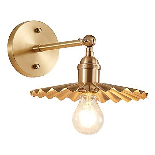 American Rural Simplicity Sconence Lámpara de pared Oro All-Cobre ROPATIBLE AJUSTABLE AJUSTABLE ARMA LIGHTING E27 Bulbo Base Luces de pared adecuadas para comedor Sala de estar y dormitorio