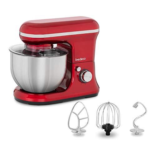 Bredeco Amasadora Batidora De Cocina BCPM-1200R (6 Velocidades, Accesorios Incluidos, 1.200 Watt, 5 Litros, Color Rojo)